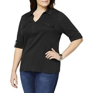 Karen Scott Black Knit Elbow Sleeve Polo Tunic Top